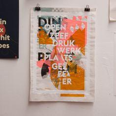 gezeever screenprint poster typography illustration gezeever open zeefdrukwerkplaats Antwerpen testprint lots of layers
