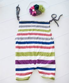 Get Your Stripes On - sitter (6-9m) shortall  romper in deep purple, teal, grey…