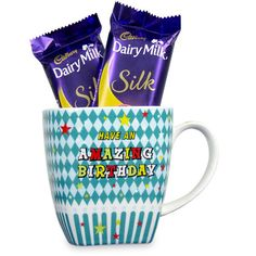 Beautiful Birthday Hamper Gift this hamper to your dear one on her or his birthday which includes a mug and two Dairy Milk Silk 72 gms each. Rs. 824 : Shop Now : https://hallmarkcards.co.in/collections/shop-all/products/online-birthday-gifts