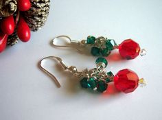 Christmas earrings holiday jewelry by starrydreams on Etsy, $20.00