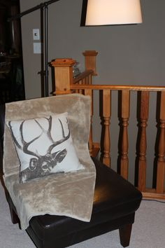 an arm less chair as an accent and a furry throw and a bit of the nature (Pottery Barn)