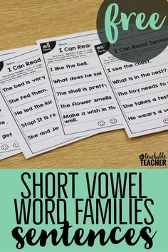 These free phonics sentences activities are perfect for primary grades. Practice reading, phonics, and fluency by reading phonics-based sentences. Reading Fluency, Reading Intervention, Teaching Reading, Free Reading, Guided Reading, Reading Practice, Reading Help, Short Vowel Activities, Phonics Activities