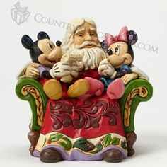 Jim Shore - Disney Traditions - Christmas Wishes - Santa with Mickey And Minnie Mouse