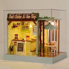 Dollhouse DIY Kit w Cover Fried Chicken Fries Hot Dogs Beer Bar Shop Store Stand