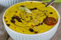 Süßkartoffel-Walnuss-Suppe - Dieser tolle Hingucker ist kalt & warm ein wahrer Genuss