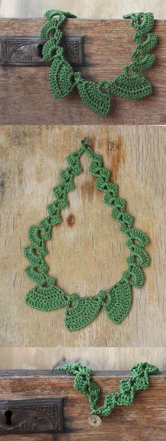 Green necklace geometric jewelry Christmas gift for her Winter holidays Handcrafted crochet fiber yarn necklace Nature Woodland Boho Cheap This geometric crochet necklace is made of green cotton yarn. about  Product features: geometric shapes, soft texture, button clasp, lightweight, made by hand, made of plant fibers, cheap jewelry. Makes lovely Christmas gift for a woman who loves green color, nature, woodland theme, boho style.