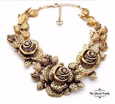 Make a grand entrance with our statement 'Bounty Rose Necklace'! Shop now: www.theglocaltrunk.com #theglocaltrunk #tgt #statement #necklace #choker #texturedmetal #costumejewellery #fashionaccessories #onlineshopping