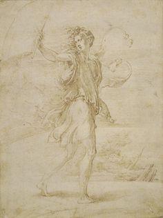 Parmigianino (Girolamo Francesco Maria Mazzola), 1503-1540, Italian, The Standard Bearer, 1530s. Pen and ink over traces of black chalk, 26.5 x 19.8 cm. British Museum, London. Mannerism.