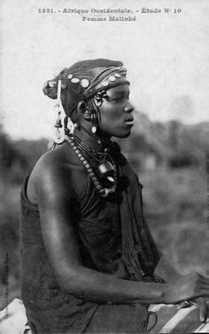 Africa   Malinke woman.  Senegal.  ca. early 1900s.   Vintage postcard; Collection Générale Fortier, Dakar   No. 1331