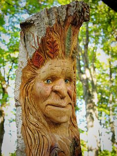 Female Wood Spirit  Hand Carved  Mother of the by RiverOtterRustic, $80.00
