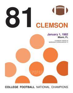 Clemson Tigers Nostalgic 81 College Football Champions - Minimalist Style Poster - Graphic Print - 11x14