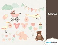 Baby girl clipart for personal and commercial use ( baby shower & birth announcement clip art ) INSTANT DOWNLOAD