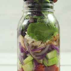 Super easy Greek salad in a Mason Jar.