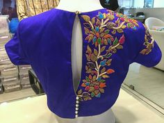 One side work blouse Simple Blouse Designs, Saree Blouse Neck Designs, Bridal Blouse Designs, Blouse Patterns, Zardosi Work Blouse, Maggam Work Designs, Indian Designer Wear, Blouse Styles, Embroidered Blouse