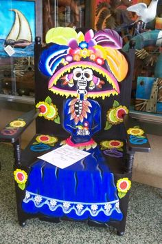 Day of the Dead store in San Diego has this beautiful handcrafted Day of the Dead chair.