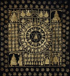 Antique Indian Gold block print on cotton. A Jain Pata-Yantra temple hanging. 1800-1900 C.E.