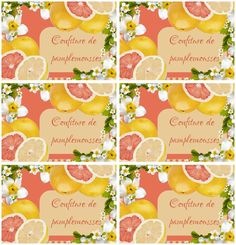 Étiquettes pour confiture de pamplemousses - Carterie Bilitis