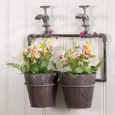 It's a wall planter with spigots. I have the perfect spot for this on the fence by my raised beds. Two-Pot Wall Planter with Spigots! x pots installed (included). Garden Wall Planter, Balcony Garden, Planter Pots, Hanging Wall Planters, Wall Vases, Hanging Signs, Walled Garden, Rustic Walls, Plant Wall
