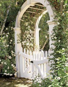garden gate with climbing roses