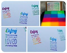 Rubber Stamp Quote #15 for photography clients and packaging (www.corinanielsen.com/shop) in use by A Beautiful World Photography!  Love the fun rainbow ink pad!  So colorful!