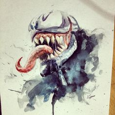 Venom • watercolour #watercolor #watercolors #watercolour #aquarela #marvel #venom #fanart #marvelart #art #artnerdy #arts_help #artoftoday #spider #spiderman #spotlightonartists #phanasu #artist_sharing #artist_4_shoutout