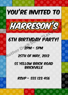 LEGO R Inspired Birthday Party Invitation