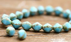 Czech Glass Picasso beads Turquoise Blue Rustic Olive...love!