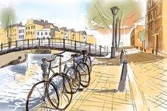 Digital watercolour landscape painting of the streets of Amsterdam with old iconic Netherlands bicycles lined up next to a canal and bridge. Travel fine art by Ryan Jorgensen