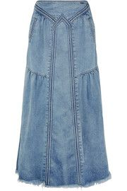 Chloé Frayed denim maxi skirt