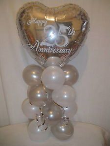 "25th Anniversary Decorations | Details about 25TH WEDDING ANNIVERSARY - 18"" FOIL BALLOON DECORATION"