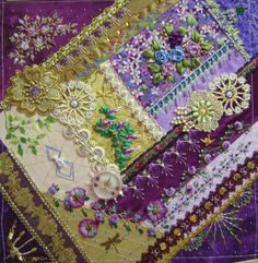 Crazy Quilting, Crazy Quilt Stitches, Crazy Quilt Blocks, Crazy Patchwork, Patch Quilt, Crazy Block, Patchwork Ideas, Silk Ribbon Embroidery, Embroidery Stitches