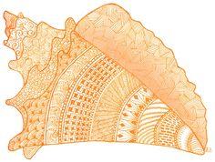 Zen Tangles (more zen doodles), Orange Seashell