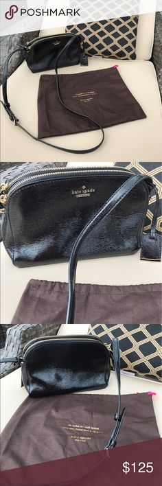 "Kate Spade double zip Mandy bag ✨FLASH SALE✨Kate Spade Double Zip 'Mandy' Crossbody Bag. Top zip closures. Adjustable shoulder strap. Interior wall pocket. 9""W x 4.5""H x 3""D. Brand new never used. Comes with dustbag. Black patent leather with gold furnishings. kate spade Bags Crossbody Bags"