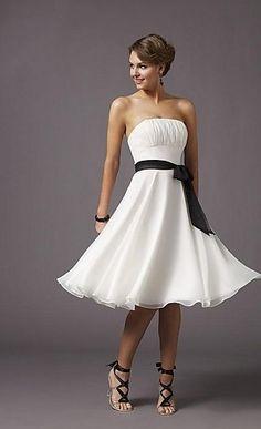 Cheap Best-selling White Short Strapless Shirred Bodice with Black Sash at Waist Chiffon Tea Length ML 735 Prom Dresses/Graduation Dresses/Holiday Dresses/Formal Dresses prom0056
