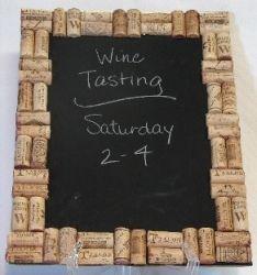 cork framed chalk board... I need to start drinking wine probly