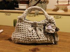 Silvia's bags, White crochet bag/ borsa in fettuccia.
