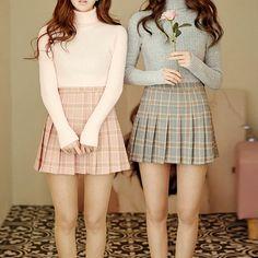 Outono e inverno nova doce estilo Britânico de cintura alta saia Plissada xadrez Faculdade rosa azul cor cinza menina saia XS-3XL