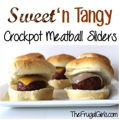 Crockpot Sweet and Tangy Meatball Sliders Recipe! ~ at TheFrugalGirls.com ~ this Slow Cooker Slider appetizer or meal is SO easy and the perfect addition to your parties or Game Day recipes! #slowcooker #meatballs #thefrugalgirls