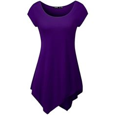 TWINTH Long Tunic Top Plus Size Loose Fit Shortsleeve Unbalanced... ($9.95) ❤ liked on Polyvore featuring tops, tunics, short sleeve tunic, loose tunic, purple tunic, long tops and plus size long tunics
