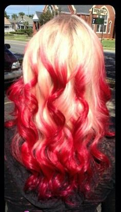 Blonde and red dip dyed ombre hair