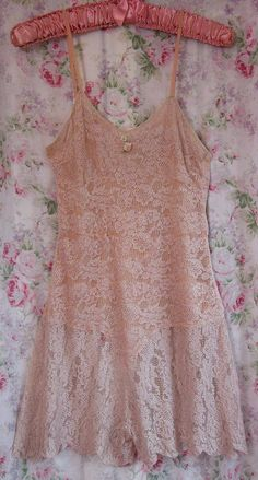 30s All Lace Teddy Rosy Beige Silk by VintageClothingandCo