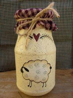 Primitive-Sheep Jar with Homespun top Mason Jar Crafts, Mason Jar Diy, Bottle Crafts, Bottle Painting, Bottle Art, Primitive Crafts, Primitive Sheep, Primitive Mason Jars, Primitive Christmas