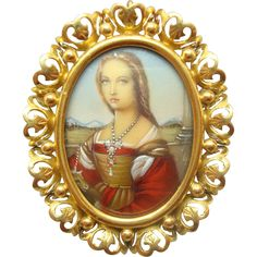 18 Karat Gold Hand Painted Portrait Pin / Pendant of Young Woman with Unicorn with Genuine Natural Diamonds