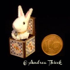 Miniature Jack in the Box Rabbit from Alice by AndreasMiniatures Pop Goes The Weasel, Jack In The Box, Toys Shop, Wooden Boxes, Sd, Alice In Wonderland, Dollhouse Miniatures, Rabbit, Faces