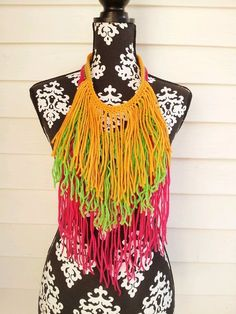Neon Colorblock Bohemian Fringe Necklace