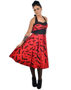 Bat 50's Dress Red and Black