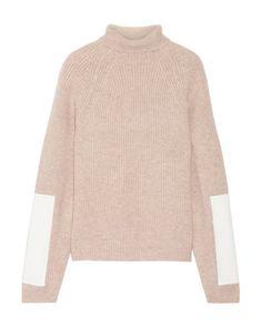 Victoria Beckham   Women's Black Faux Leather-trimmed Wool Turtleneck Sweater