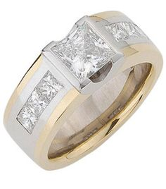 18 ct White & Yellow Gold Diamond Ring      Semi rub over set princess cut centre diamond with curved 'V' shaped profile. The wide 18ct yellow gold band has 18ct white gold inlays channel set with 6 princess cut diamonds. Suits centre diamond from 0.40ct.    The shoulder diamonds and inlays are optional.