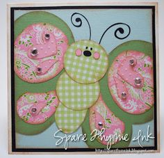 huge and adorable butterfly created with patterned paper cut outs.the expression created for the face and hearts in the wings. Scrapbooking, Scrapbook Cards, Punch Art Cards, Paper Punch, Kids Birthday Cards, Cricut Cards, Butterfly Cards, Copics, Cool Cards