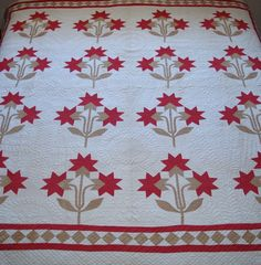 Floral Quilt on Bed